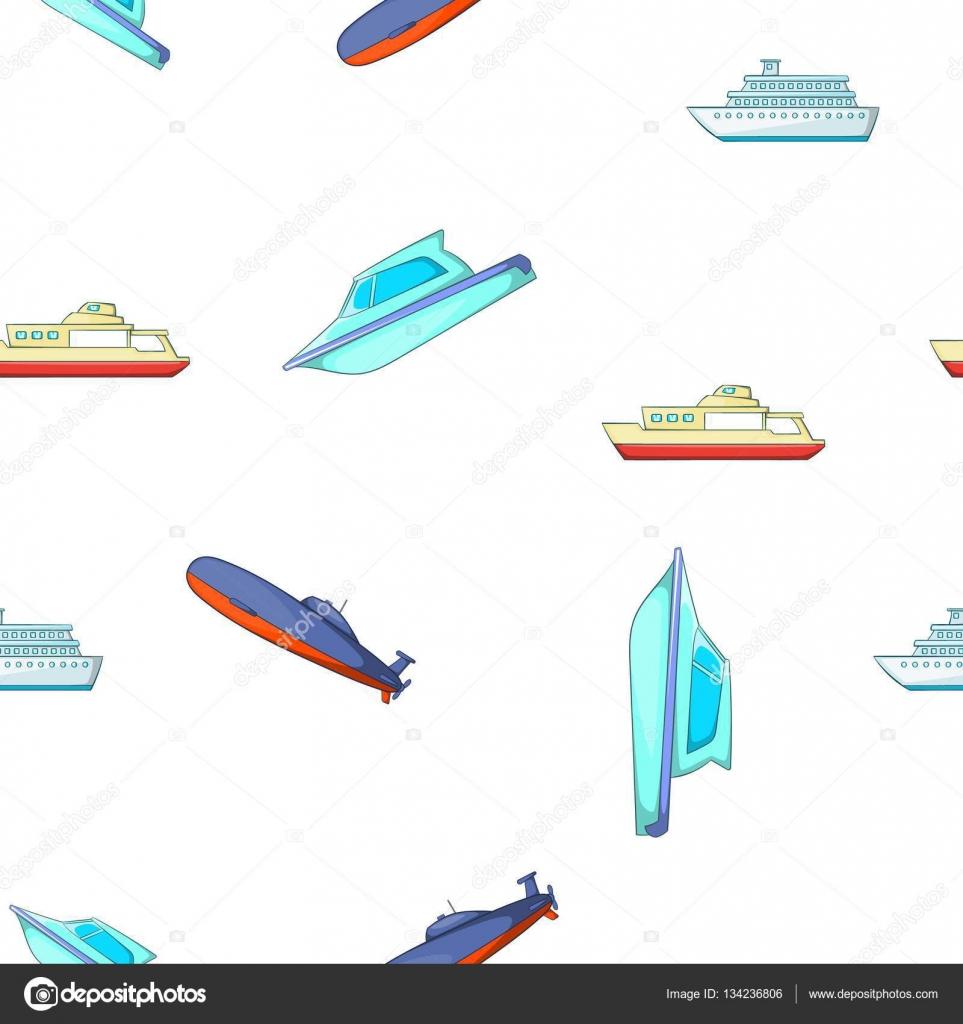 Patrón de barcos y naves, estilo de dibujos animados — Archivo ...