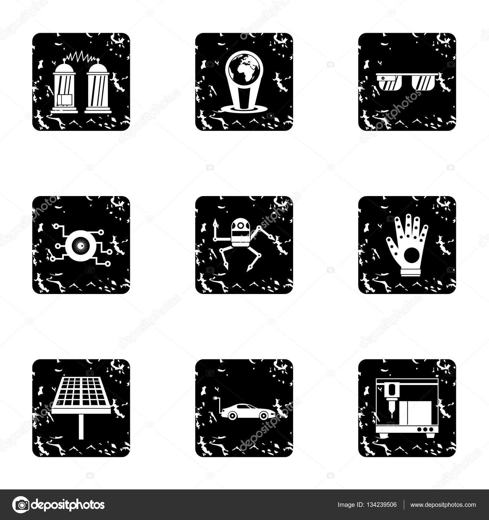Neueste elektronische Geräte Symbole Grunge Stil festlegen ...