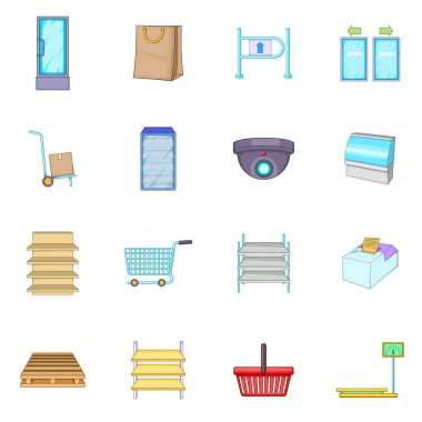 Supermarket icons set, cartoon style
