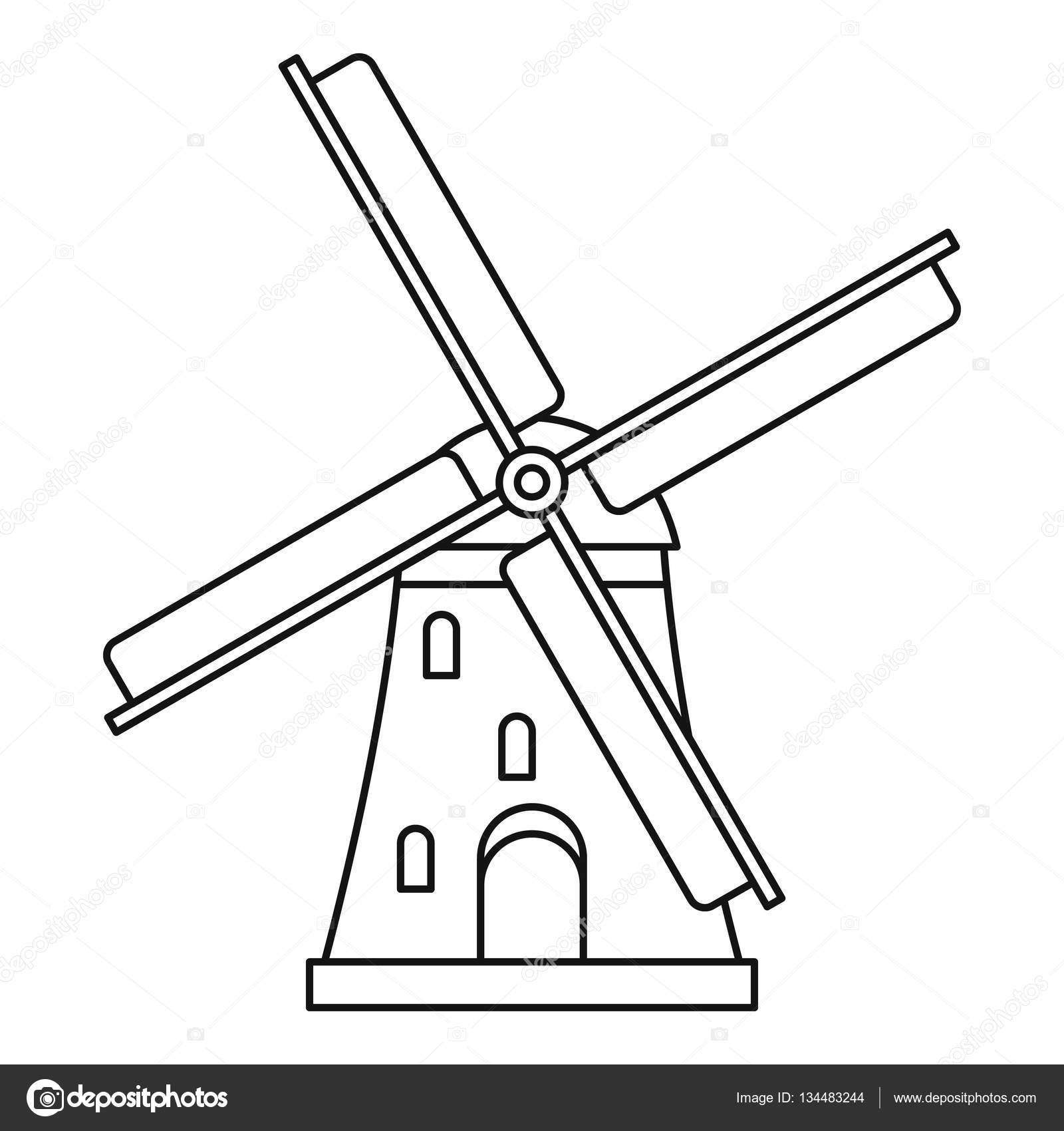 Windmill icon outline style stock vector ylivdesign for Decor outline