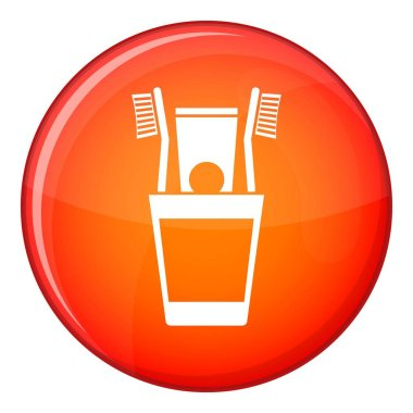 Plastic cup with brushes icon, flat style