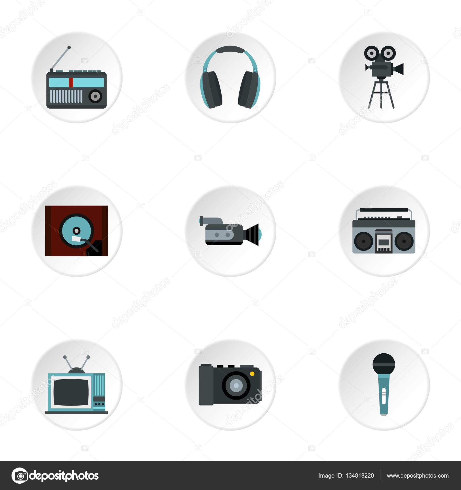 Elektronische Geräte Symbole gesetzt, flachen Stil — Stockvektor ...