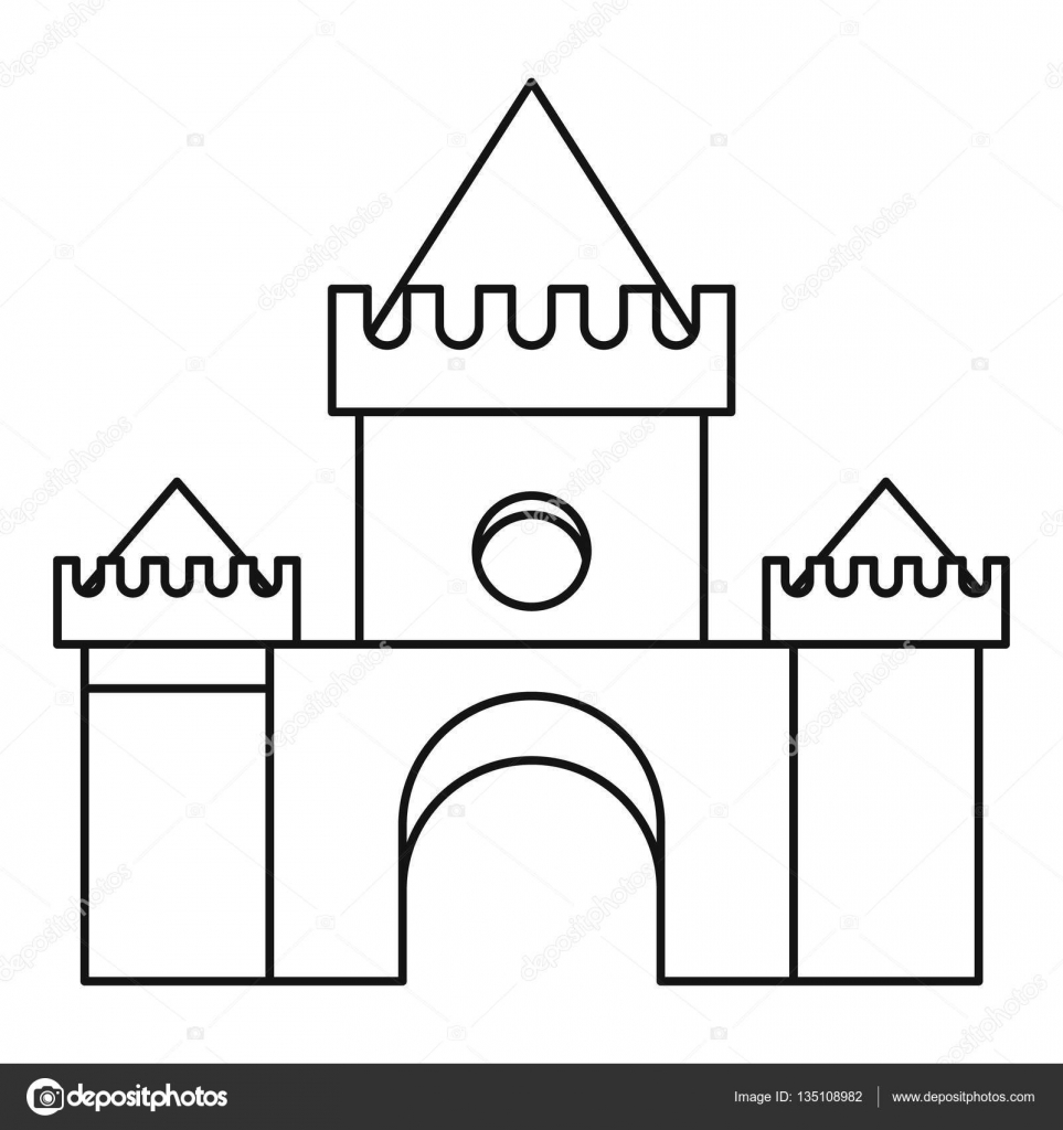 Fairytale Magic Castle Icon Outline Style Stock Vector