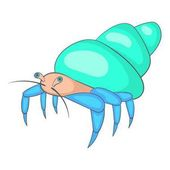 Blue hermit crab icon, cartoon style