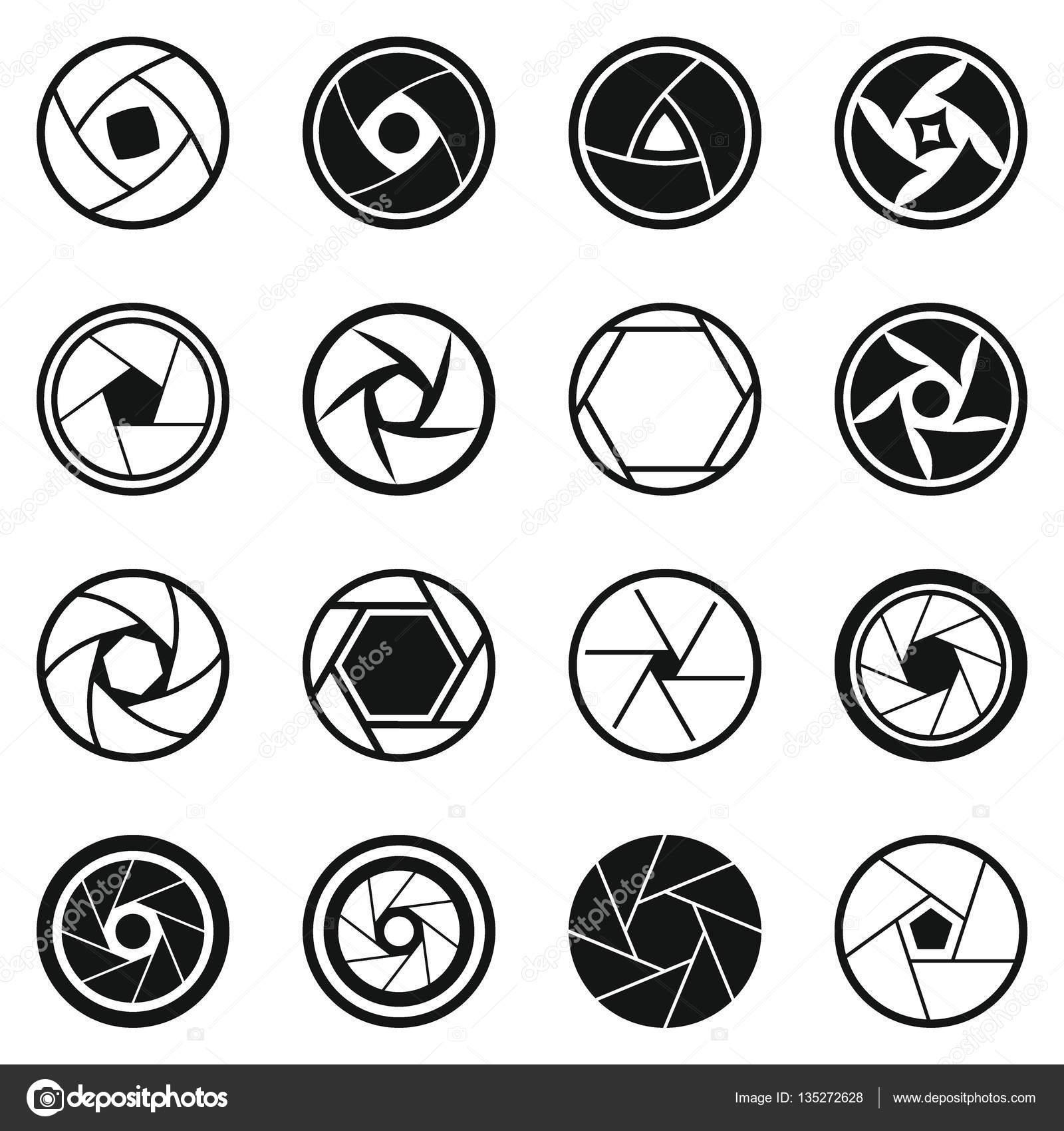 Conjunto de iconos foto diafragma, estilo simple — Archivo Imágenes ...