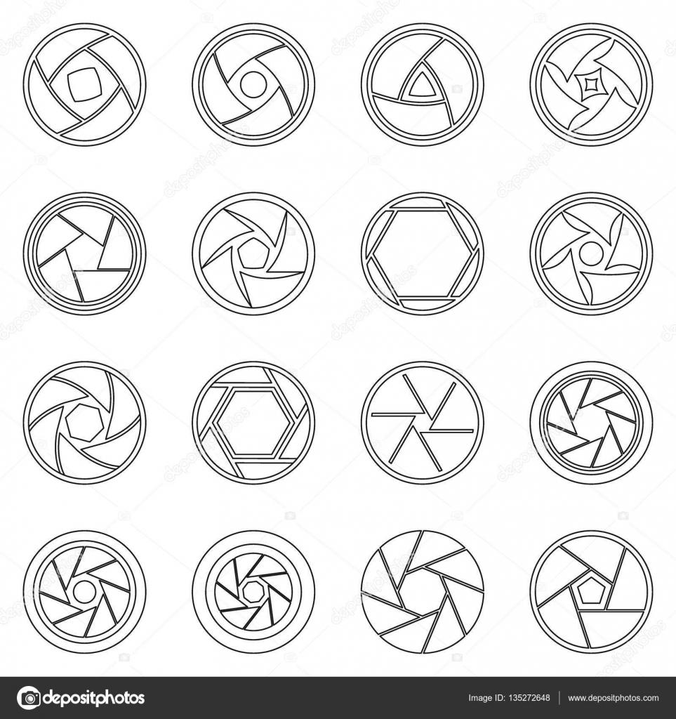 Membran Symbole Fotoset, Umriss-Stil — Stockvektor © ylivdesign ...