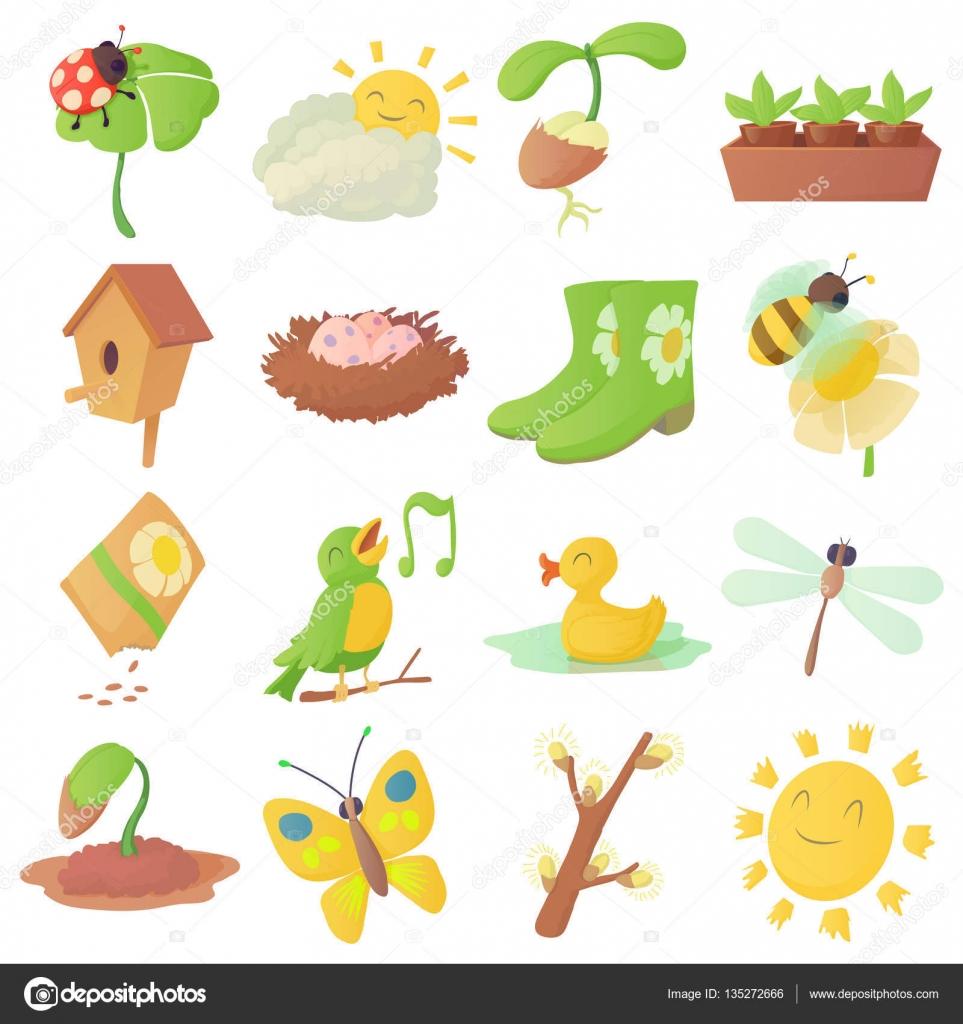 Iconos Primaverales Iconos De Cosas Primavera Conjunto Estilo De
