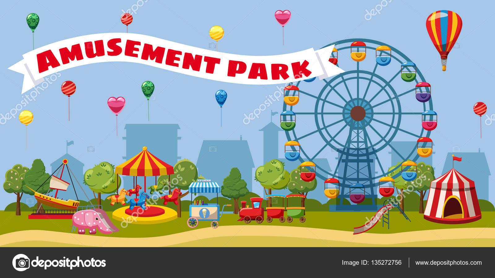Concepto De Paisaje De Parque De Atracciones, Estilo De