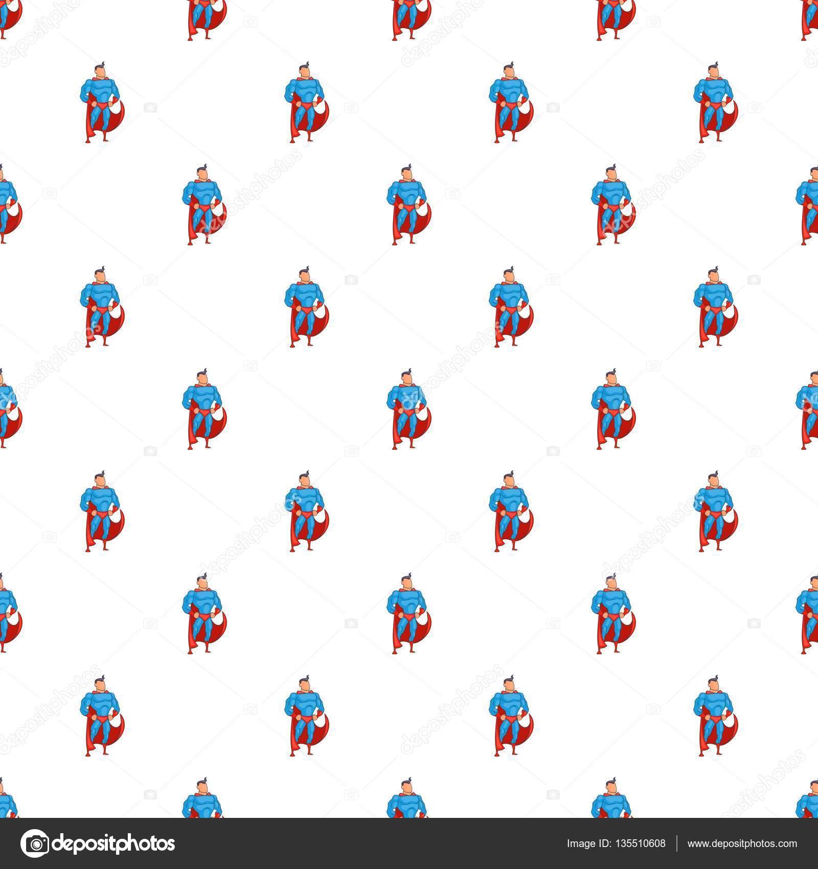 Superhéroe en patrón de la acción, estilo de dibujos animados ...