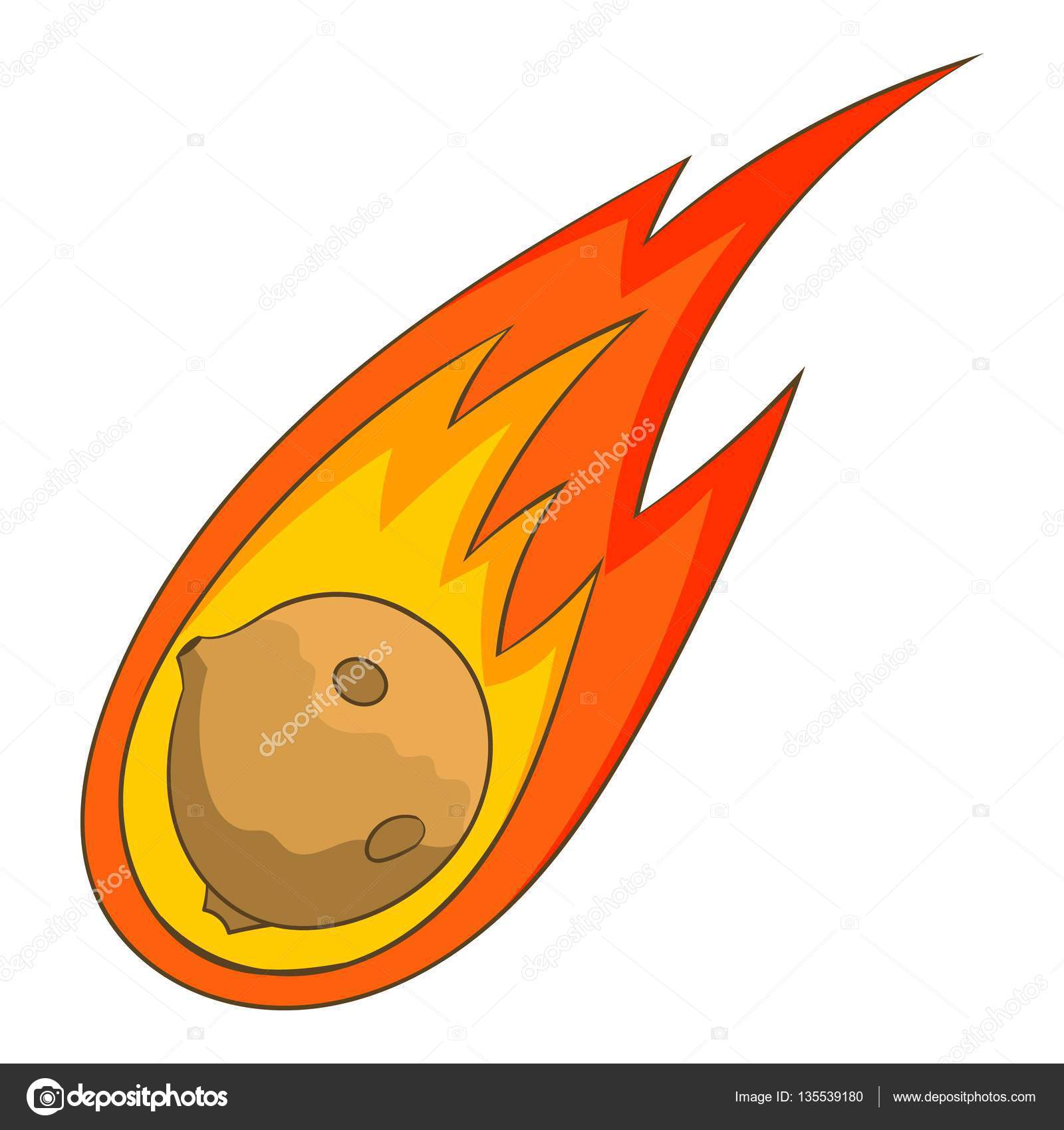 Flame meteorite icon, cartoon style — Stock Vector ...