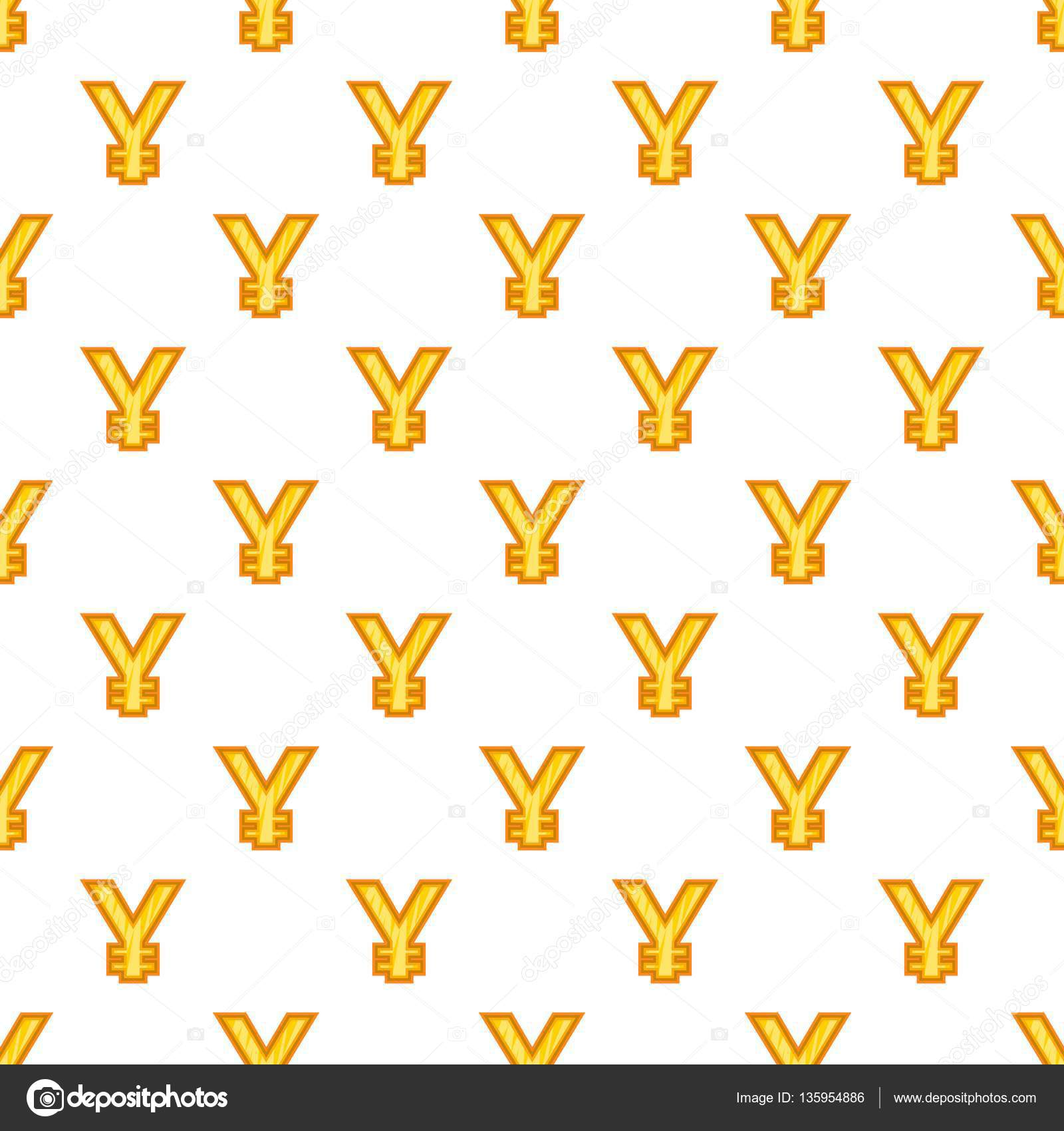 Japan Yen Currency Symbol Pattern Cartoon Style Stock Vector