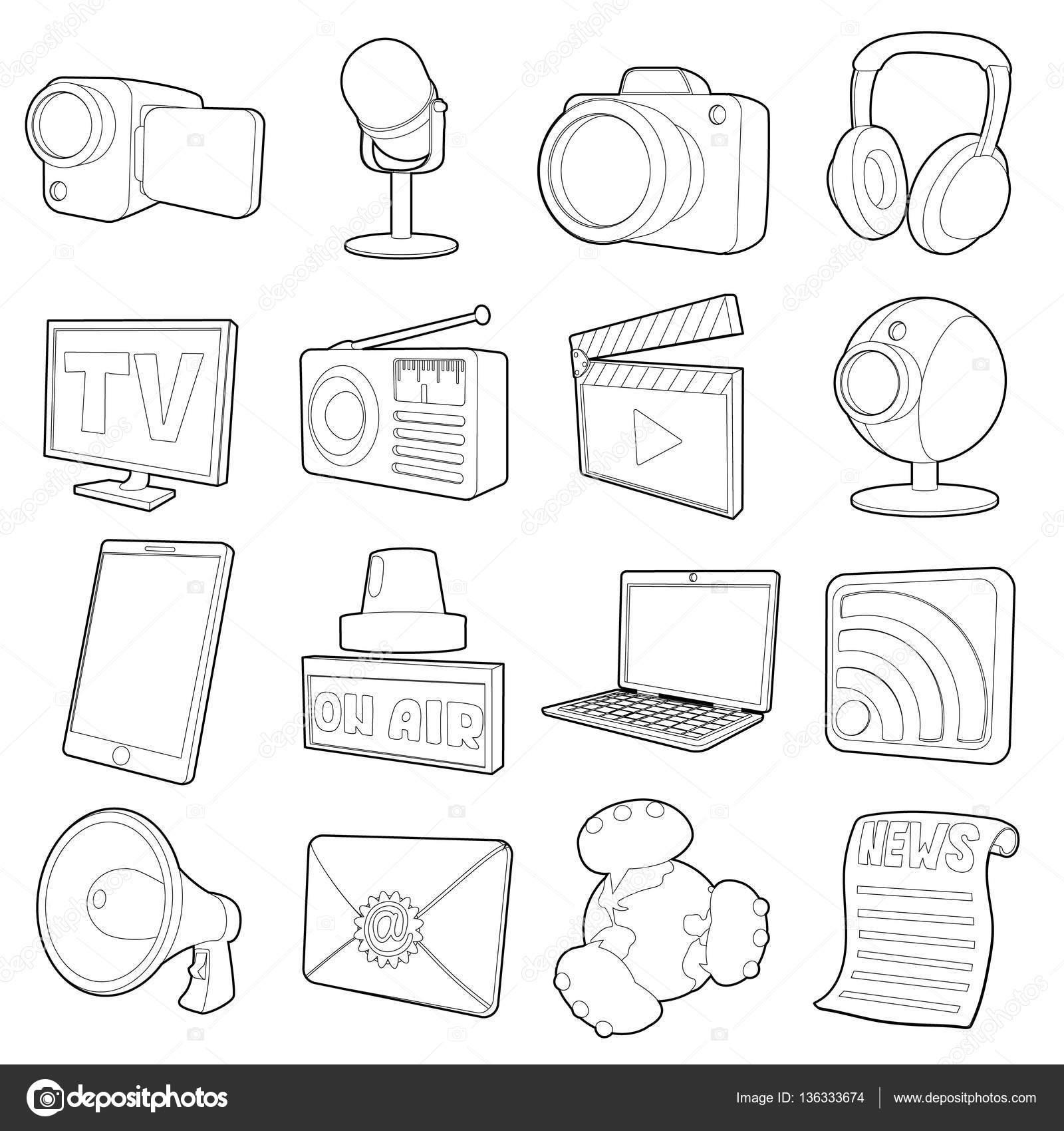 Medios Canales Set De Iconos Estilo De Contorno De Dibujos Animados