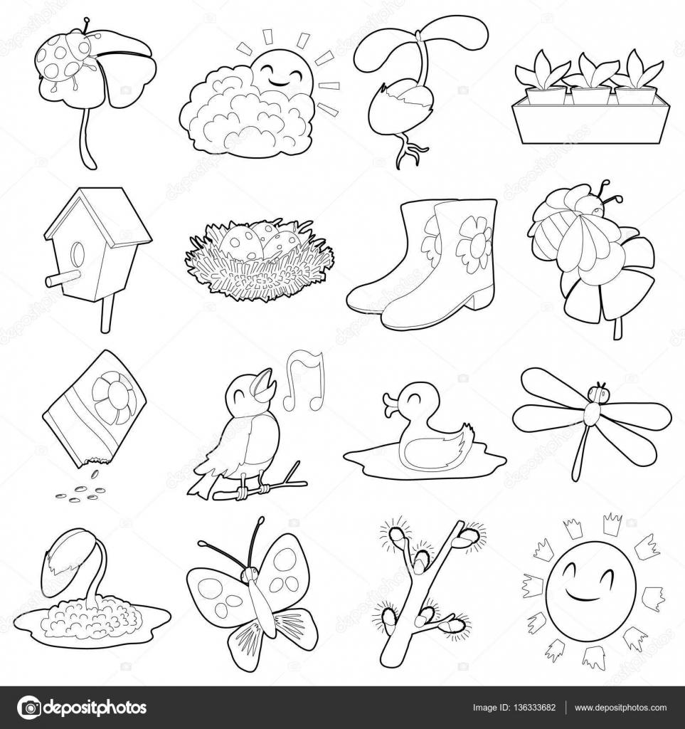 Conjunto de iconos de cosas de primavera, estilo de contorno de ...