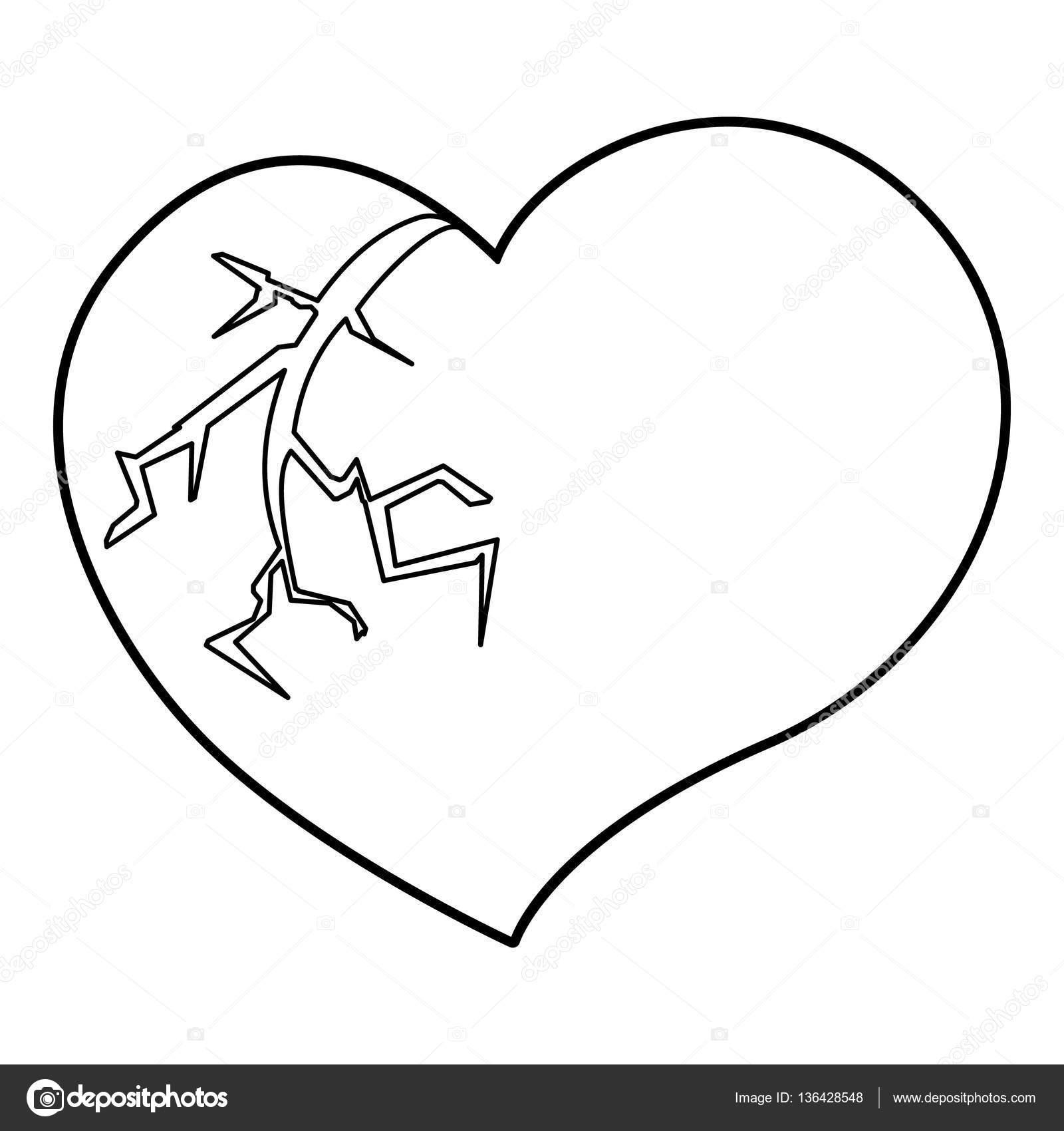 Icono de corazón roto, estilo de contorno — Vector de stock ...