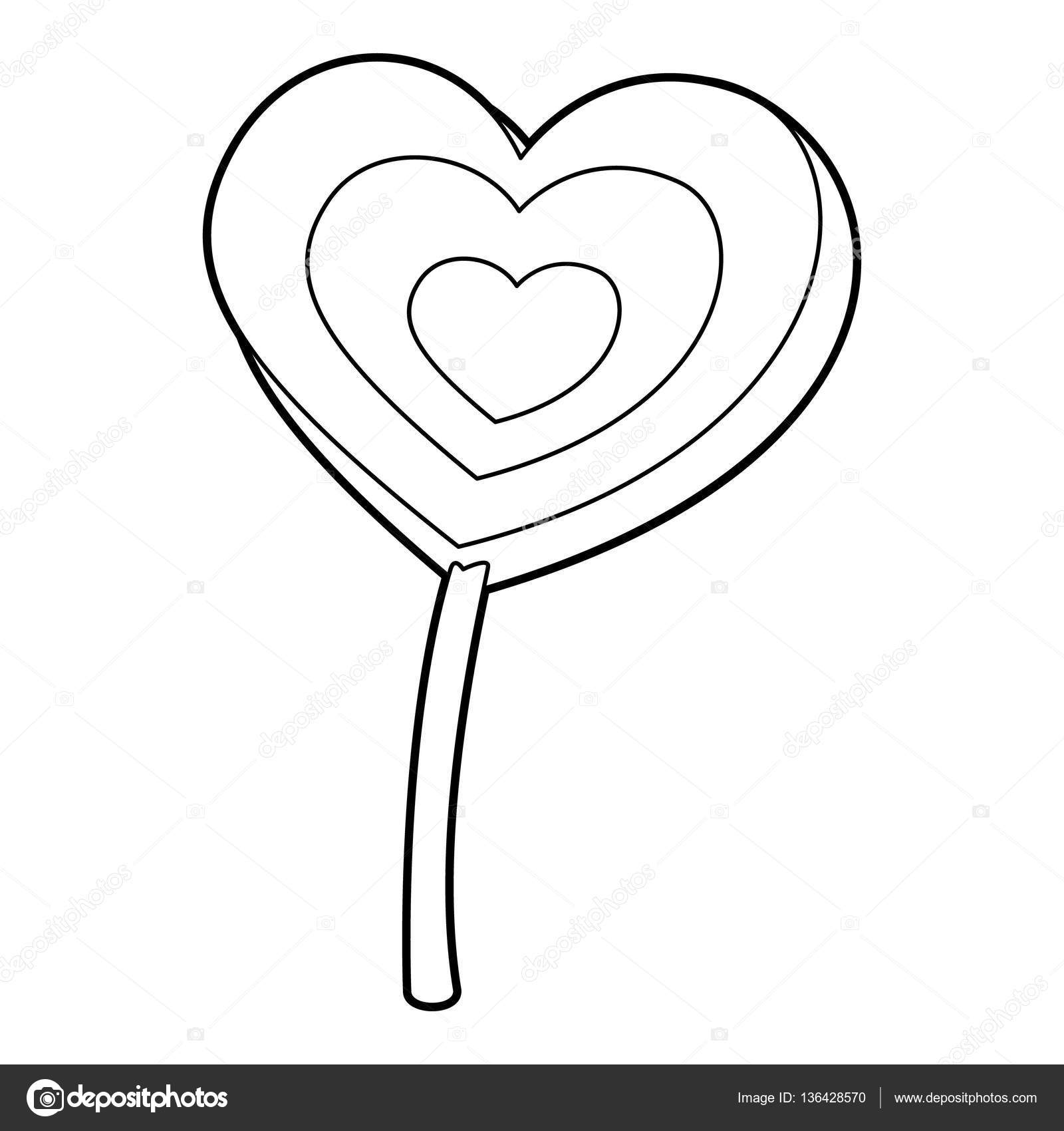 Images Lollipop Outline Lollipop Heart Icon Outline Style