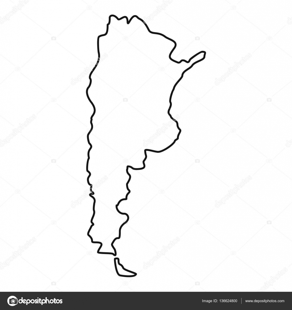 Argentina Map Icon Outline Style Stock Vector Ylivdesign - Argentina map download