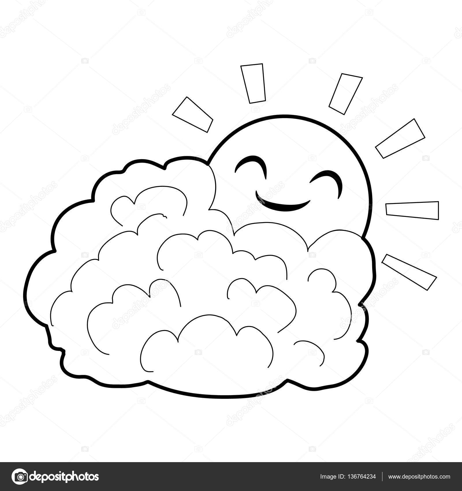 Sun And Cloud Icon Isometric 3d Style Stock Vector C Ylivdesign