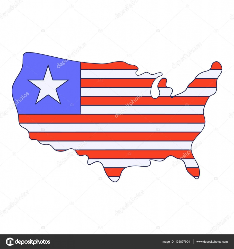 independence day usa map icon cartoon style stock vector