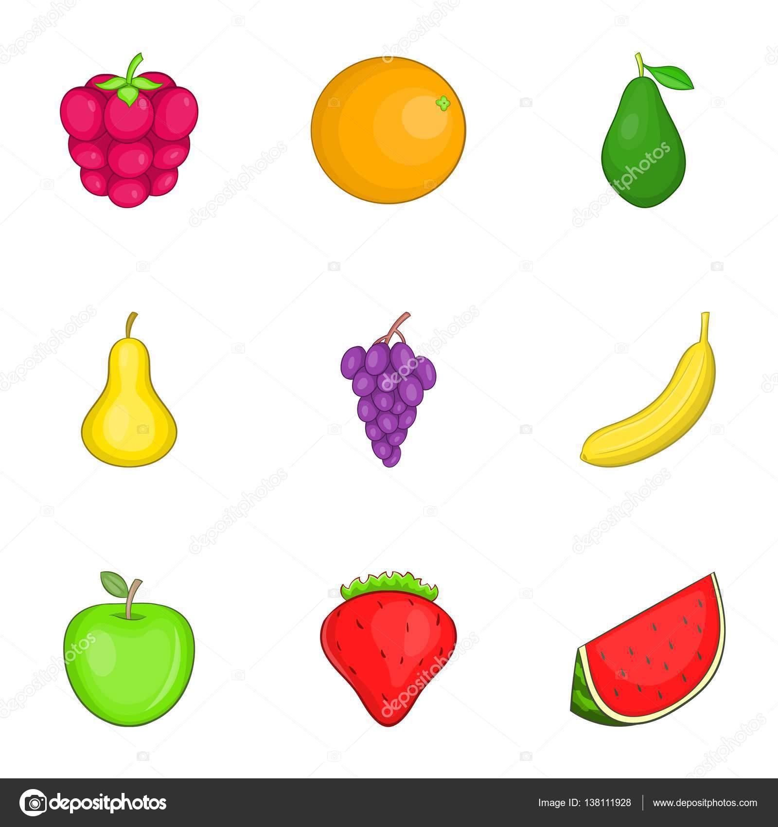 Imagenes Frutas Animadas A Color Conjunto De Iconos De Frutas De