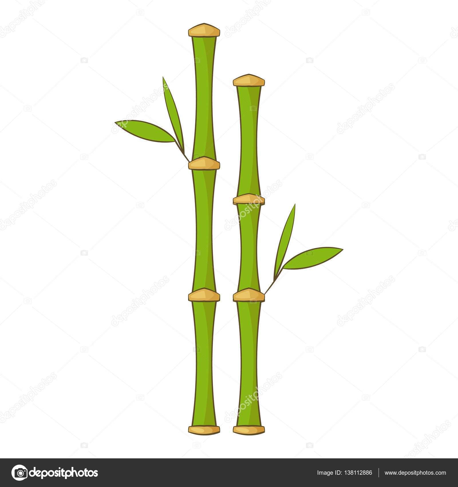 Zielony Bambus Pedy Ikona Stylu Cartoon Grafika Wektorowa