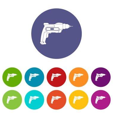 Hand drill set icons