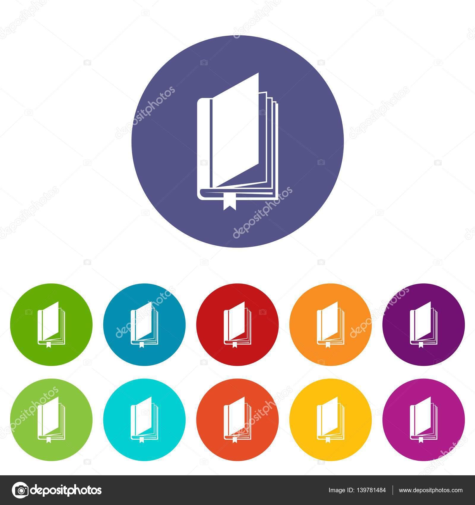 Buchen Sie mit Lesezeichen Set Symbole — Stockvektor © ylivdesign ...