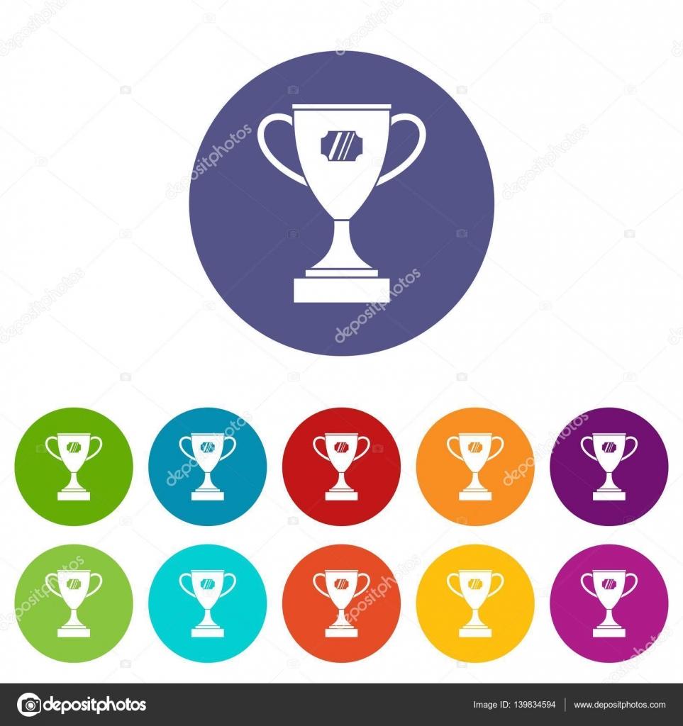 Sieger Pokal set Symbole — Stockvektor © ylivdesign #139834594