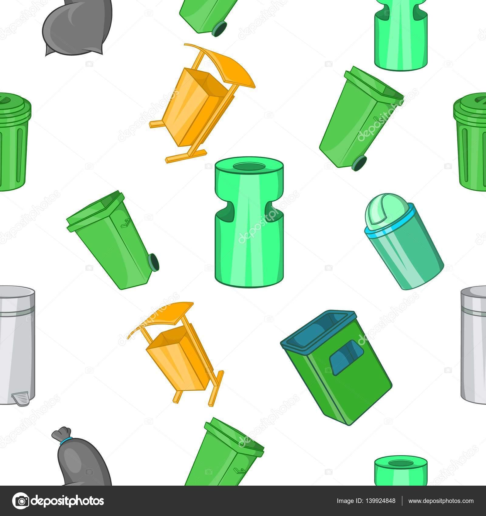 Patrón de la basura, estilo de dibujos animados — Archivo Imágenes ...