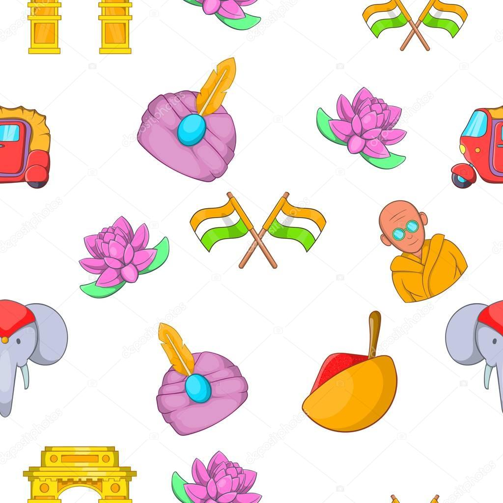 Tourism in India pattern, cartoon style