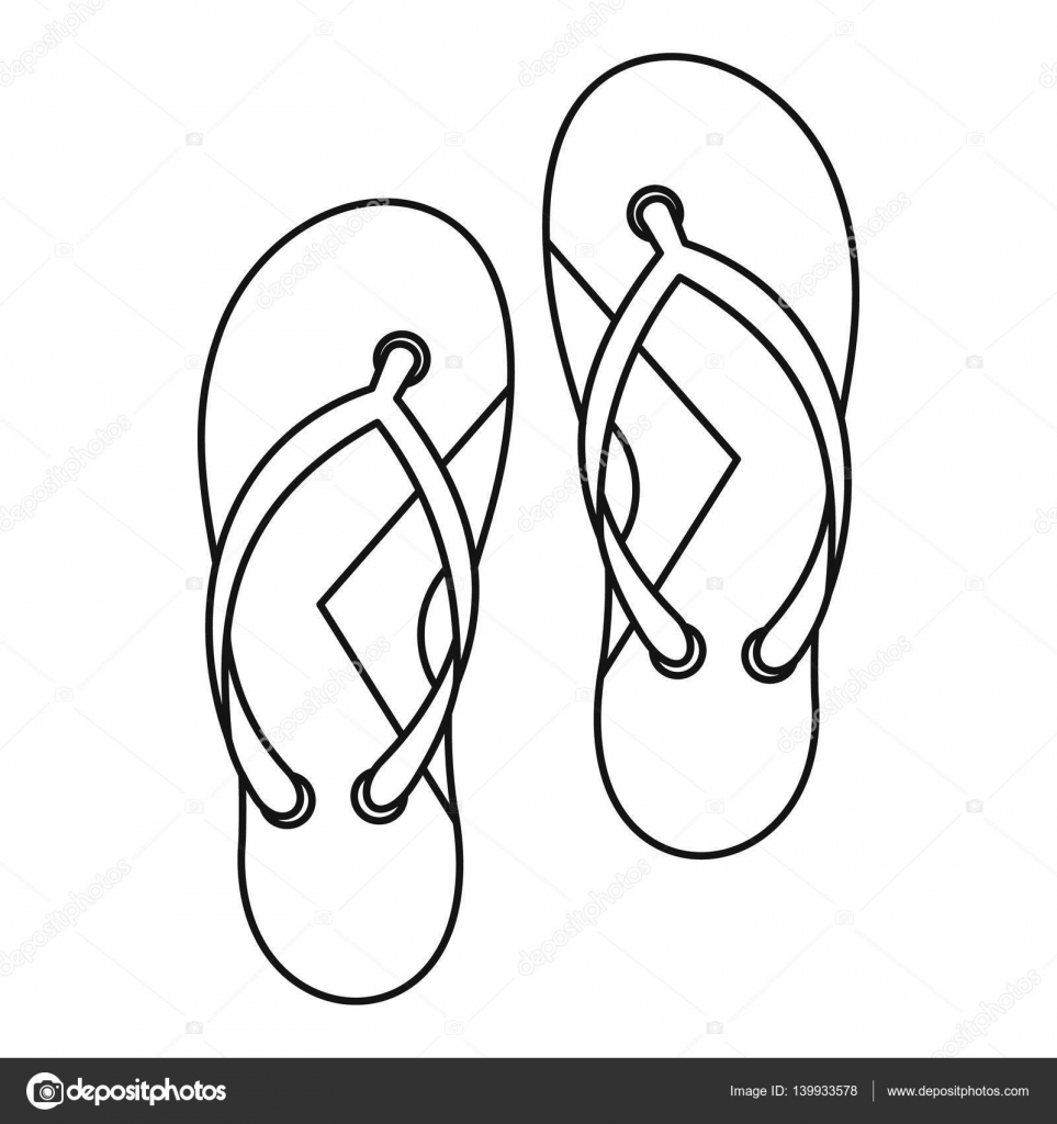 Flip flops icon, outline style — Stock Vector © ylivdesign #139933578