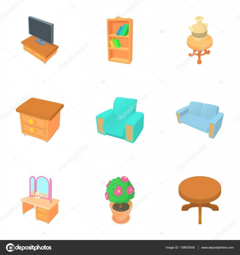Muebles Para El Hogar Set De Iconos Estilo De Dibujos Animados  # Muebles Dibujos Animados