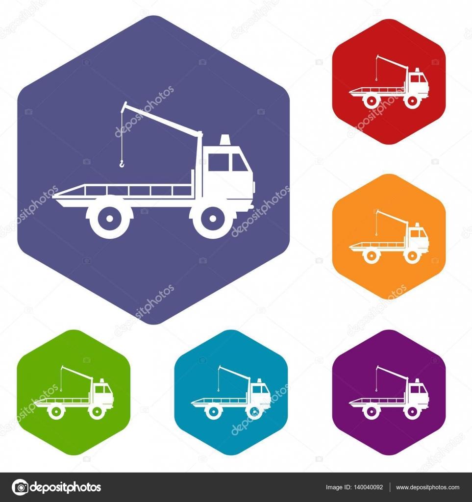 Auto Abschleppen von LKW Symbole gesetzt — Stockvektor © ylivdesign ...