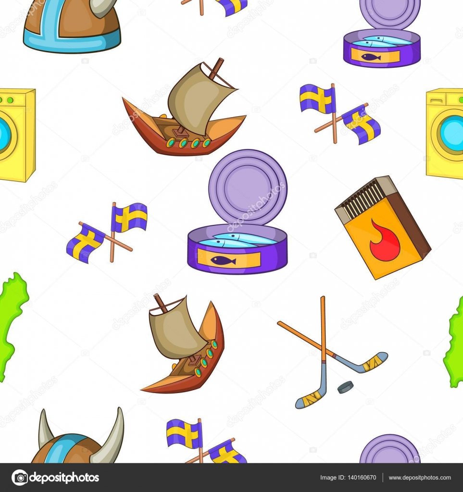 Patrón de Suecia, estilo de dibujos animados — Vector de stock ...
