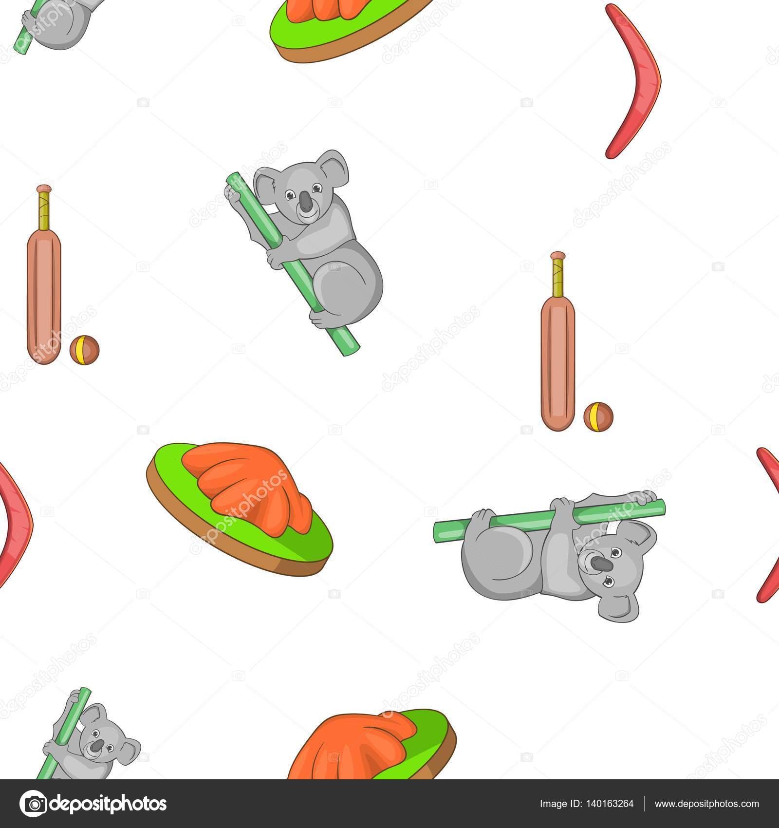 Patrón de viajes de Australia, estilo de dibujos animados — Vector ...
