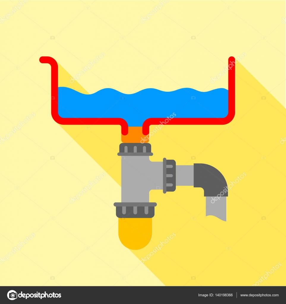 Icona del sifone di bagno, stile piano — Vettoriali Stock ...
