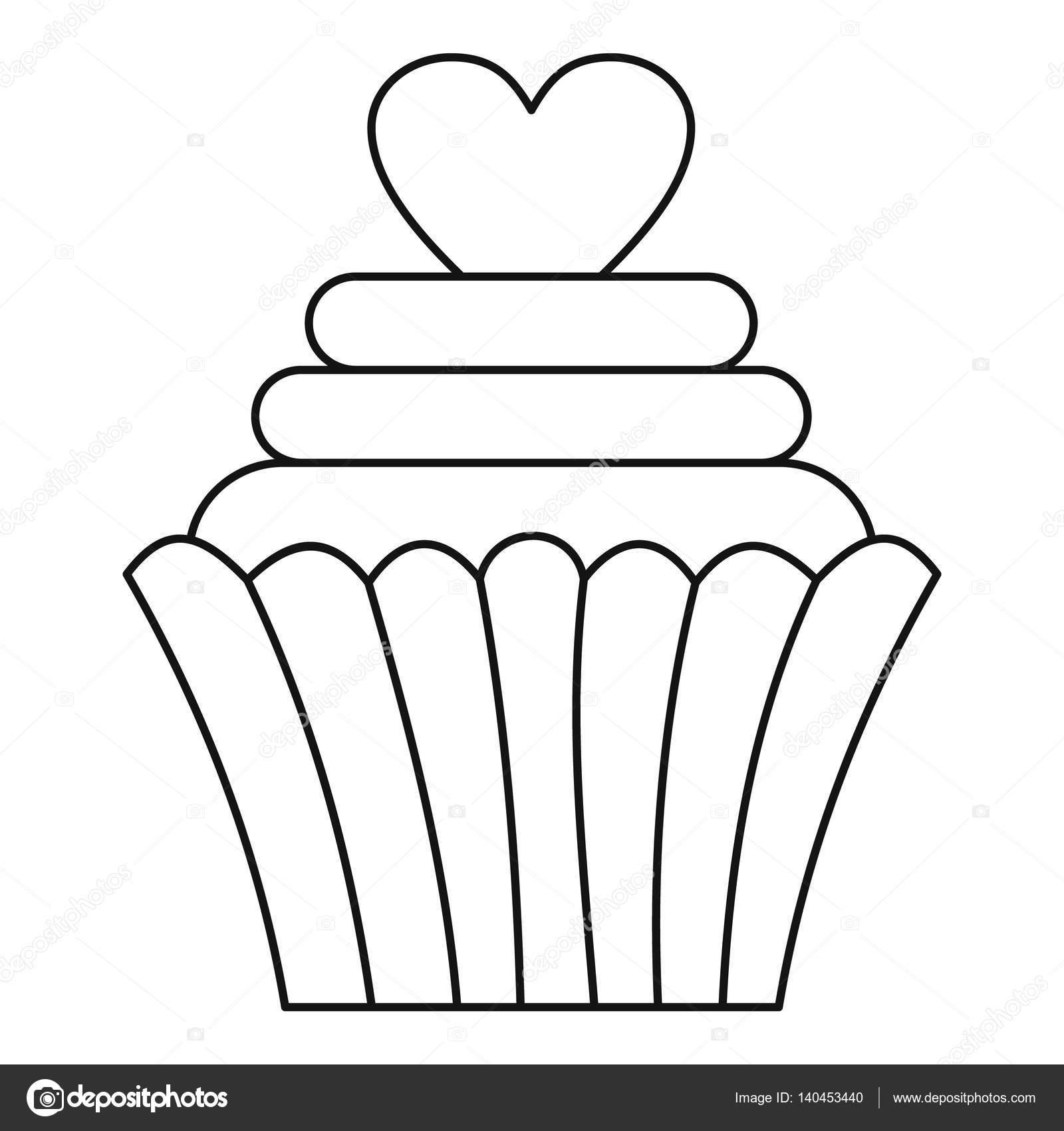 Cupcake con icono de corazón, estilo de contorno — Vector de stock ...