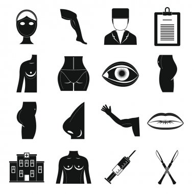 Plastic surgeon icons set, simple style
