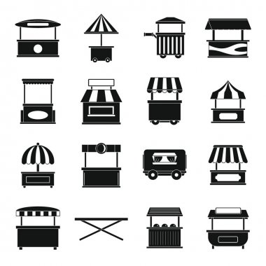 Street food truck icons set, simple style