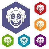 Clown icons set
