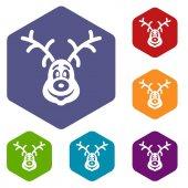 Christmas deer icons set