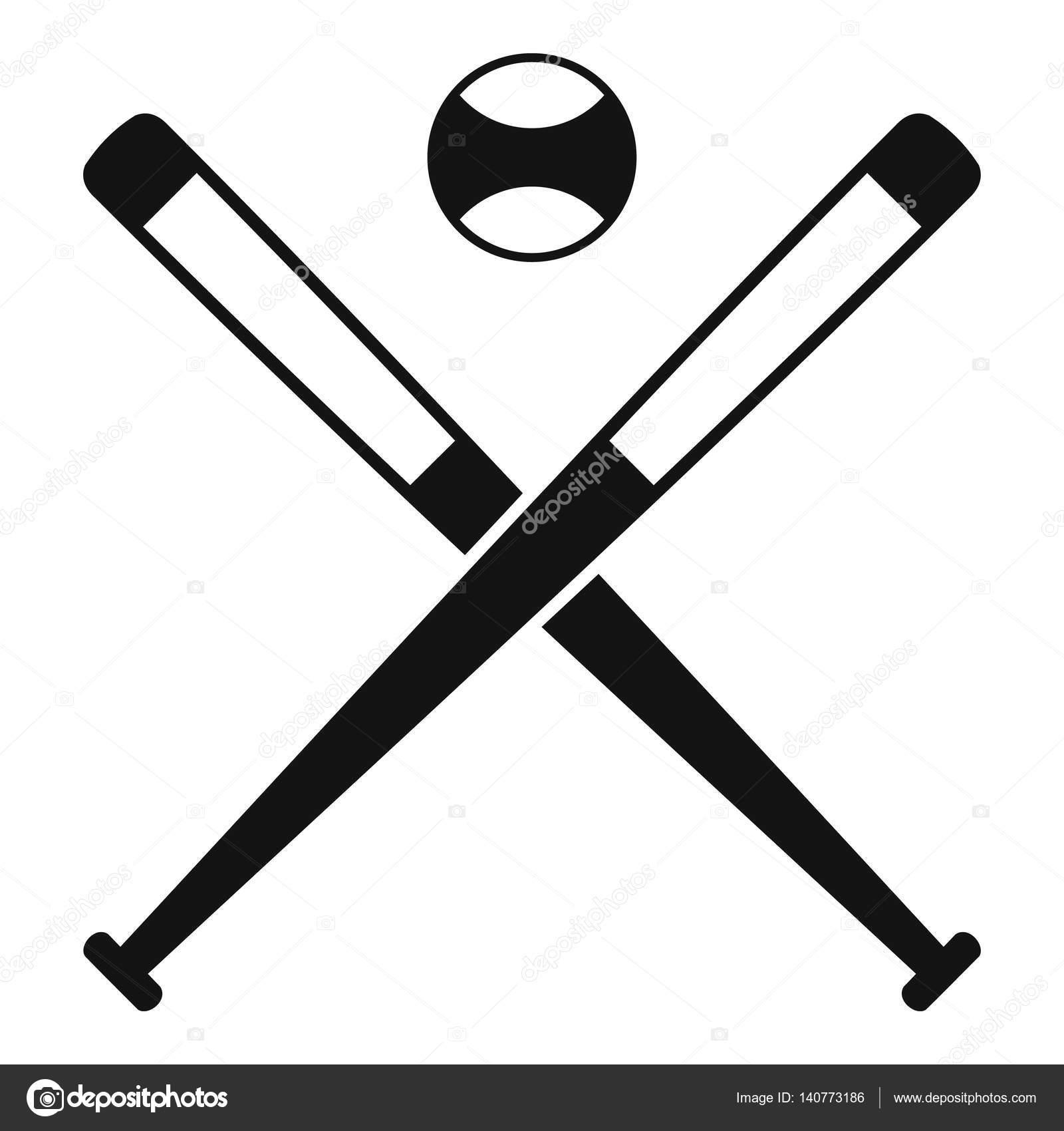 crossed baseball bats and ball icon simple style stock vector rh depositphotos com Baseball Bat Vector Silhouette Baseball Bats Crossed with Ball