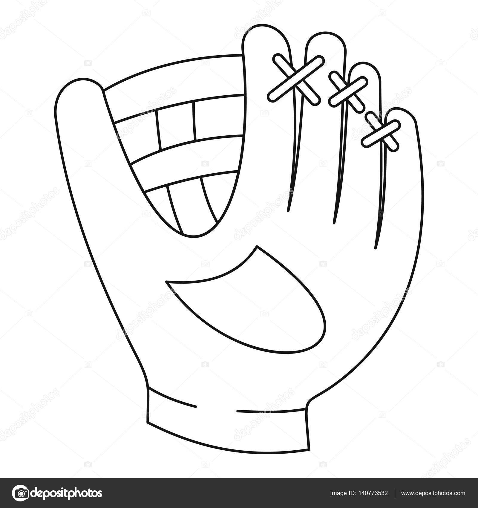 Icono del guante de béisbol, estilo de contorno — Archivo Imágenes ...