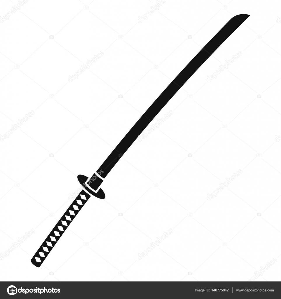 日本刀アイコンシンプルなスタイル ストックベクター Ylivdesign