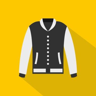 Baseball jacket icon. Flat illustration of baseball jacket vector icon for web   on yellow background stock vector