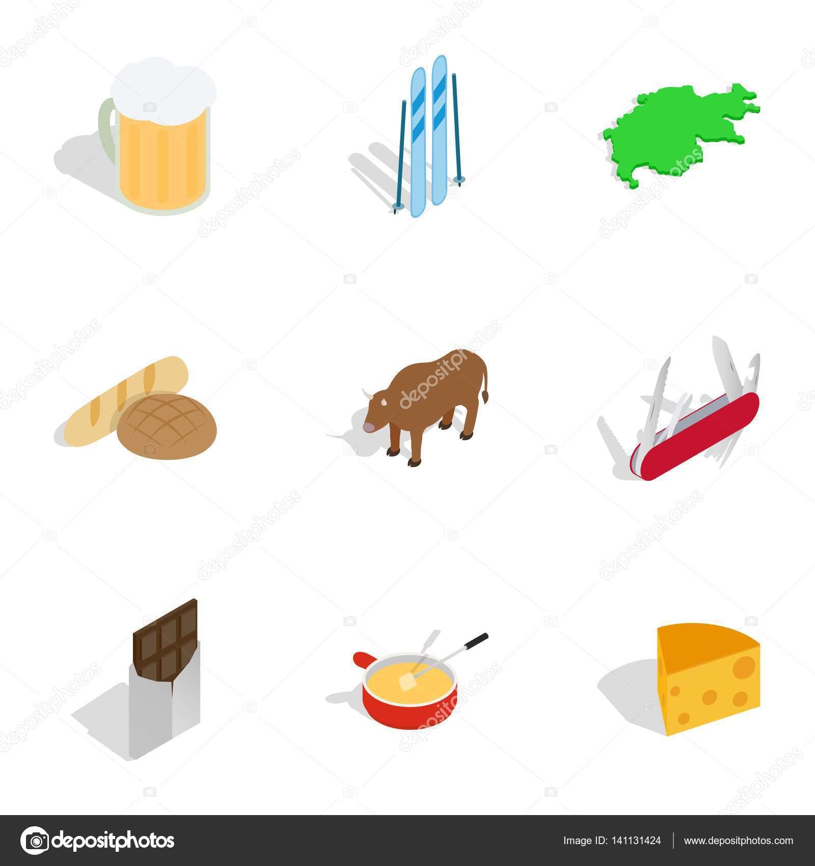 Symbols Of Switzerland Icons Set Stock Vector Ylivdesign 141131424
