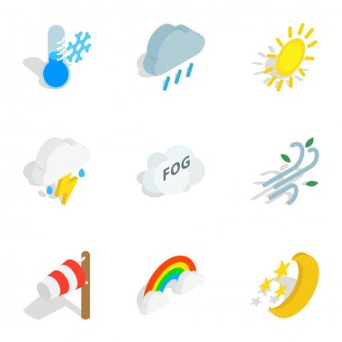 Weather forecast icons set. Isometric 3d illustration of 9 weather forecast vector icons for web clip art vector