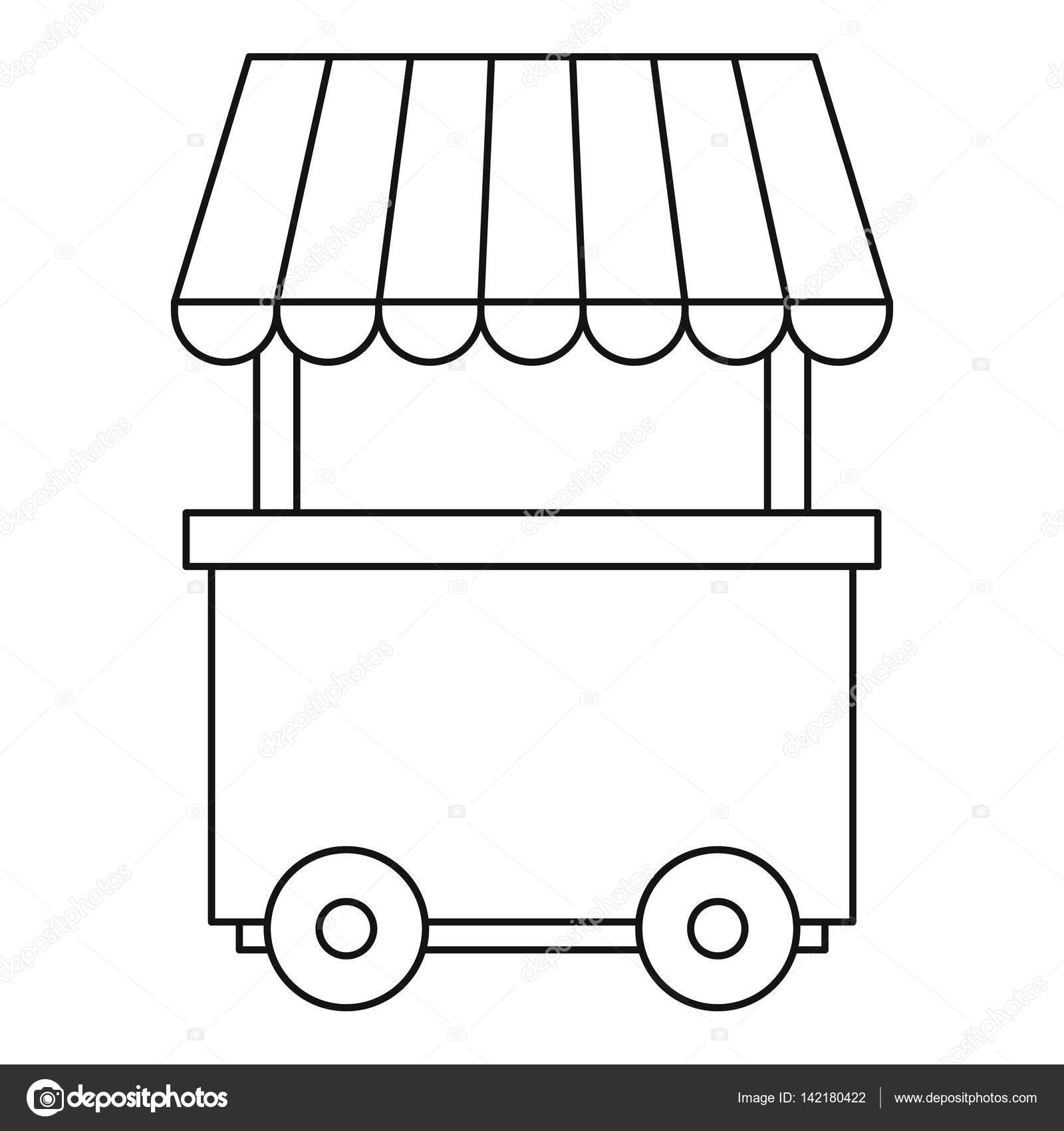 Fast food trolley wheel icon, outline style — Stock Vector