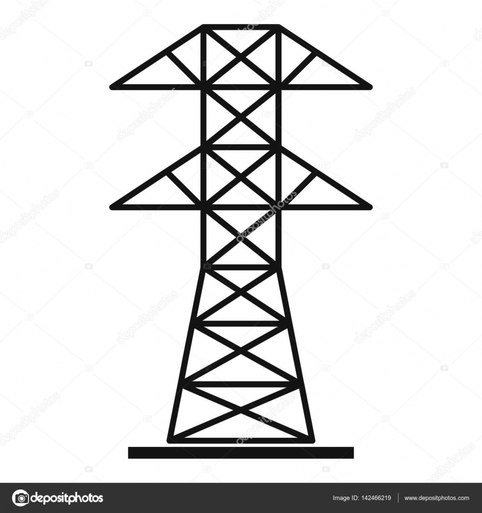 high voltage tower icon  simple style  u2014 stock vector