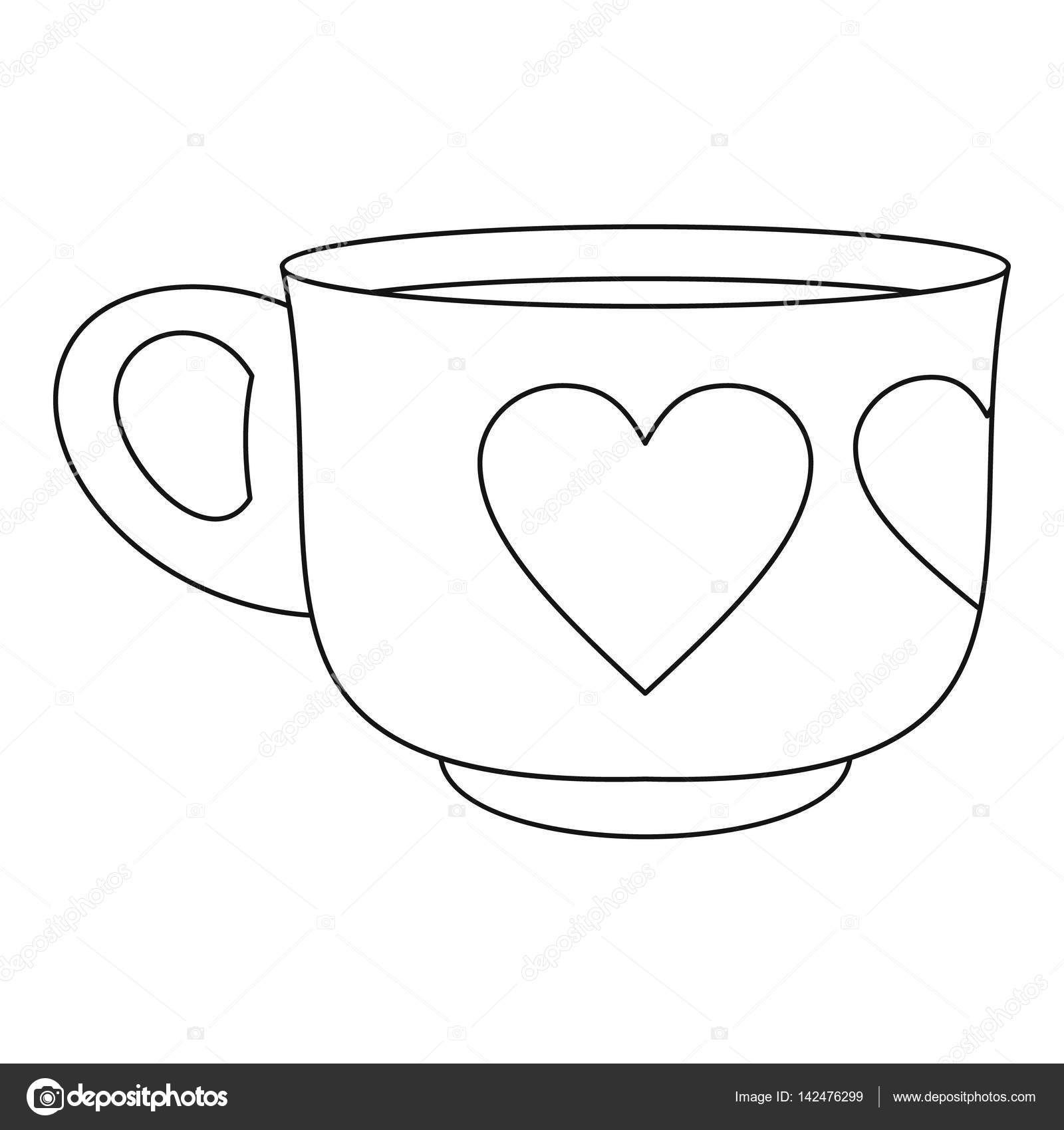 Cup Icon Outline Style Stock Vector