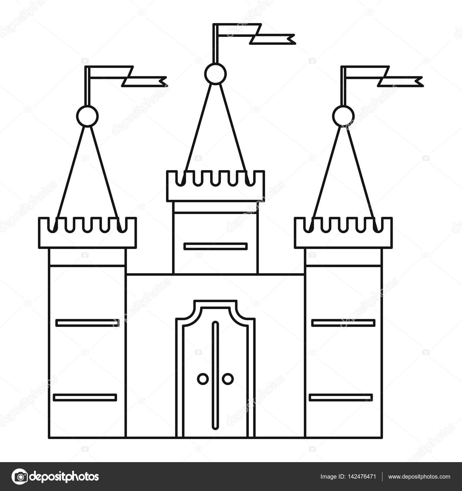 Castle Icon Outline Style Stock Vector
